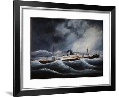 Austria Steamship of Lloyd Company During Storm--Framed Giclee Print