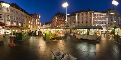 Austria, Styria, Graz, Main-Place, Frontage, Market-Stands, Evening-Mood-Rainer Mirau-Photographic Print