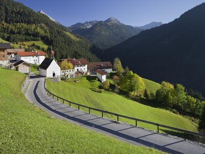 Austria, Tyrol, Au§erfern (Mountain Range), Mitteregg, Street, View of a Place, Church-Rainer Mirau-Photographic Print