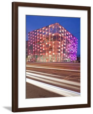 Austria, Upper Austria, Linz, Ars Electronica, Light Tracks, Evening-Rainer Mirau-Framed Photographic Print