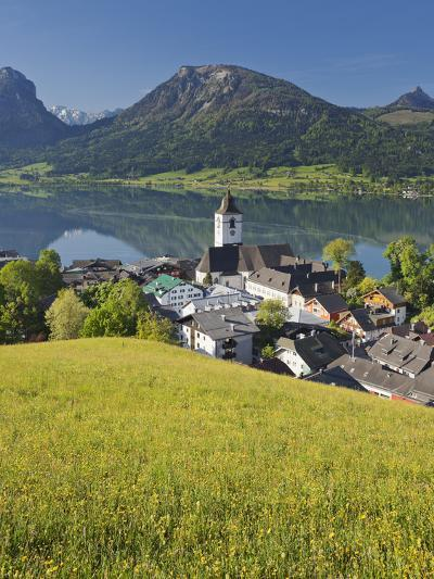 Austria, Upper Austria, Saint Wolfgang, Lake Wolfgangsee, Steeple-Rainer Mirau-Photographic Print
