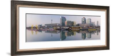 Austria, Vienna, Donau-City, Donau-City, City View, Evening-Mood, Danube, Panorama-Rainer Mirau-Framed Photographic Print