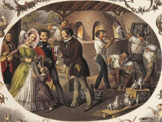 Austria, Vienna, Glass Blowers in their Workshop--Giclee Print
