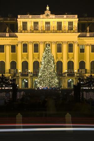 Austria, Vienna, Palace Schšnbrunn, Christmas Market, Christmas-Tree, Evening-Mood, Light-Tracks-Rainer Mirau-Photographic Print