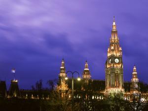 Austria, Vienna, Rathaus, Night