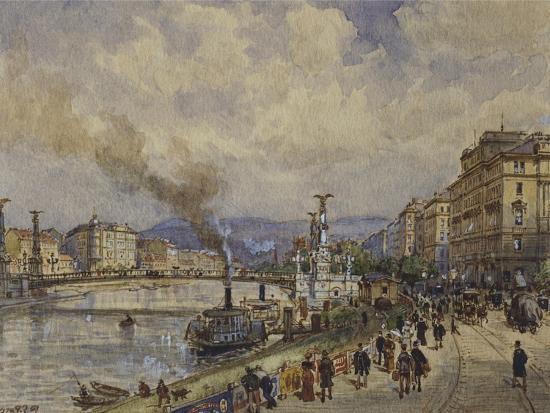 Austria, Vienna, Walk Along Danube River in Vienna--Giclee Print