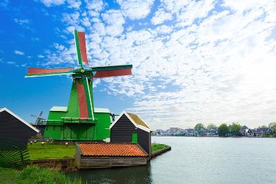 Authentic Zaandam Mills on the Water Channel-SerrNovik-Photographic Print