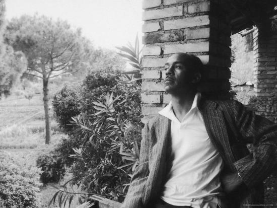 Author Ralph Ellison Against Brick Wall at American Academy on Rome Fellowship in Literature-James Whitmore-Premium Photographic Print