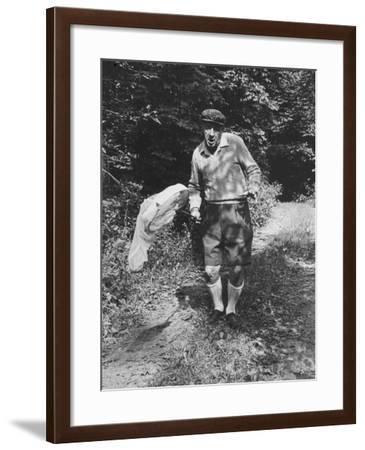 Author Vladimir Nabokov Chasing Butterflies-Carl Mydans-Framed Premium Photographic Print