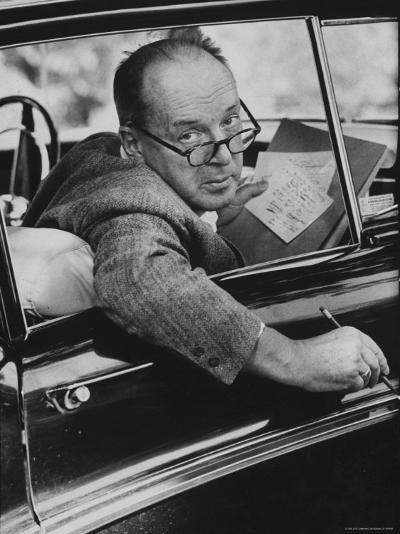 Author Vladimir Nabokov Writing in His Car. He Likes to Work in the Car, Writing on Index Cards-Carl Mydans-Premium Photographic Print