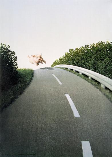 Autobahn Pig-Michael Sowa-Art Print