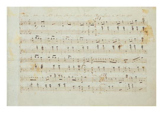 Autographed Manuscript Signed and Dedicated of the Grande Valse Brilliante, Opus 18 in E Flat Major-Fryderyk Chopin-Giclee Print