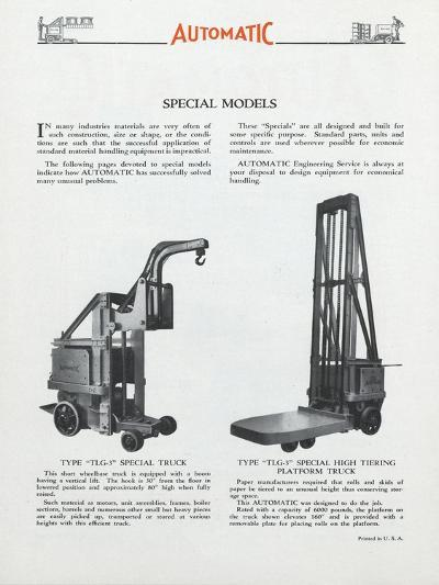 Automatic Transportation Company's Special Models of Automatic Units--Giclee Print