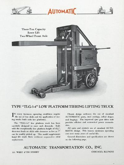 Automatic Transportation Company's Type Tlg 3-4 Low Platform Tiering Lifting Truck--Giclee Print