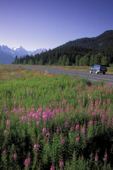 Autombiles on Seward Highway in Kenai Mtns Kp Ak Summer-Design Pics Inc-Photographic Print