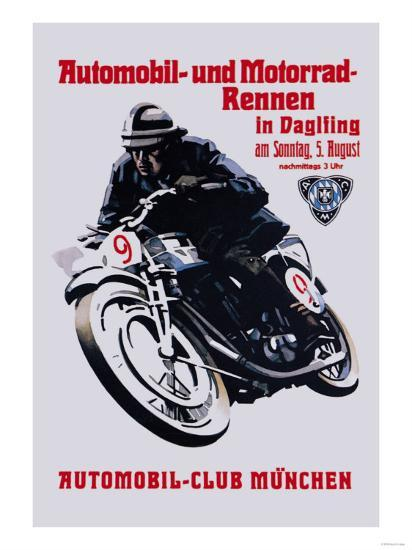 Automobile and Motorcycle Race, Munich--Art Print