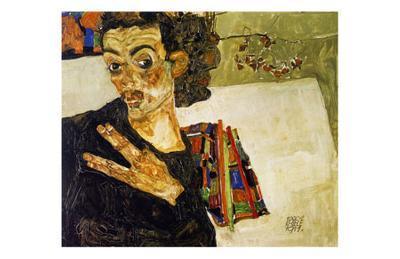 Autoportrait, les Doigts ecartes, c.1911-Egon Schiele-Art Print