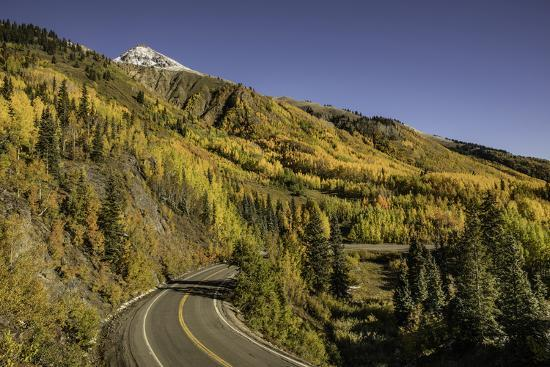 Autumn, aspen trees and Million Dollar Highway, Crystal Lake, Ouray, Colorado-Adam Jones-Premium Photographic Print