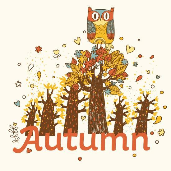 Autumn Childish Card in Vector. Cartoon Forest in Yellow Colors with Cute  Owl Art Print by smilewithjul  f70243ae2f7ce