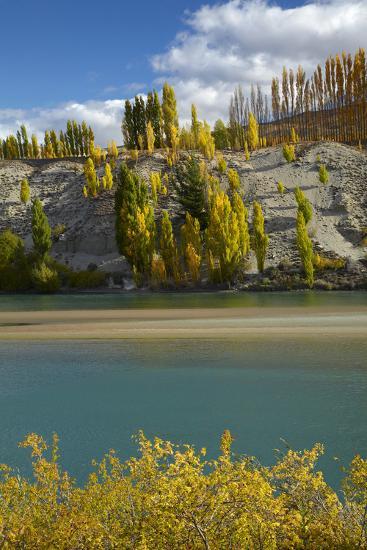 Autumn Colour at Bannockburn, and Kawarau Arm of Lake Dunstan, South Island, New Zealand-David Wall-Photographic Print
