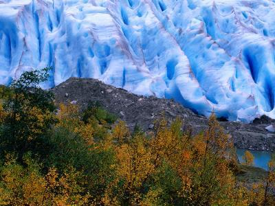 Autumn Colours and Icefall at Briksdalsbreen Glacier, Finnmark, Norway-Anders Blomqvist-Photographic Print