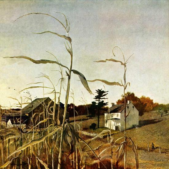 """Autumn Cornfield,""October 1, 1950-Andrew Wyeth-Premium Giclee Print"