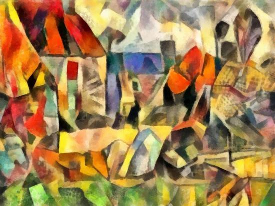 autumn courtyard(version I,2017-Alex Caminker-Giclee Print