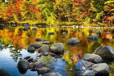Autumn Foliage River Reflections-George Oze-Photographic Print