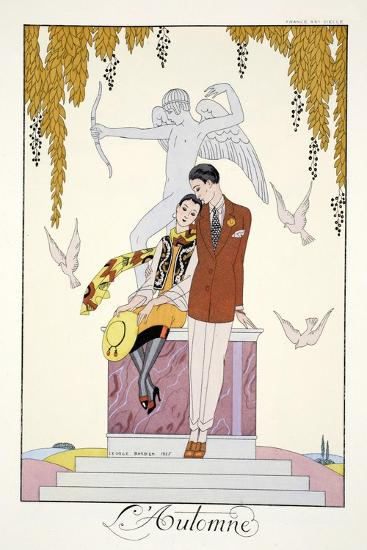 Autumn, from 'Falbalas and Fanfreluches, Almanach des Modes Pr?sentes, Pass?es et Futures', 1926-Georges Barbier-Giclee Print