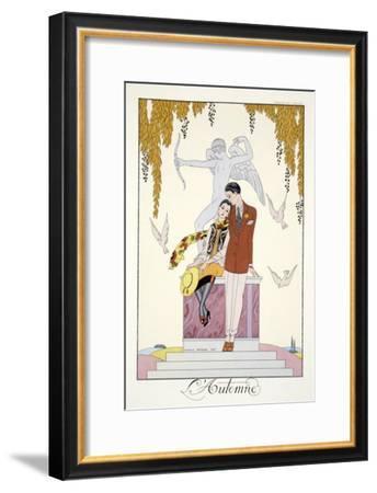 Autumn, from 'Falbalas and Fanfreluches, Almanach des Modes Présentes, Passées et Futures', 1926-Georges Barbier-Framed Giclee Print