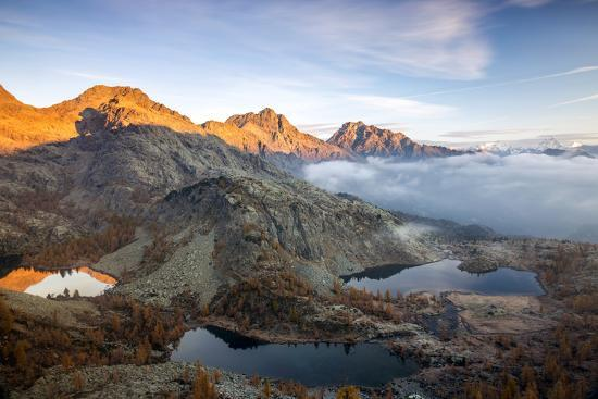 Autumn Landscape at the Natural Park of Mont Avic, Lac Blanc, Aosta Valley, Graian Alps, Italy-Roberto Moiola-Photographic Print