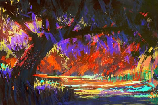 Autumn Landscape Digital Painting,Illustration Art-Tithi Luadthong-Art Print