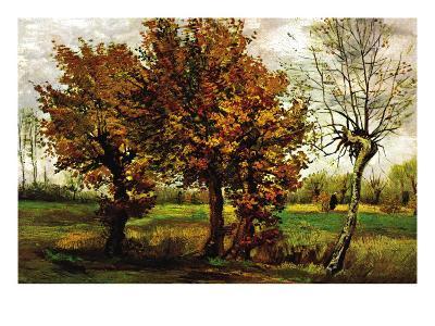 Autumn Landscape with Four Trees-Vincent van Gogh-Art Print