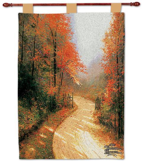 Autumn Lane Wall Tapestry by Thomas Kinkade   Art.com