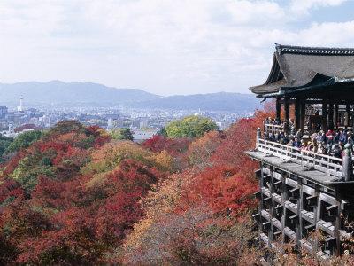 Autumn Leaves, Kiyomizu Temple (Kiyomizu-Dera), Kyoto, Honshu, Japan--Photographic Print