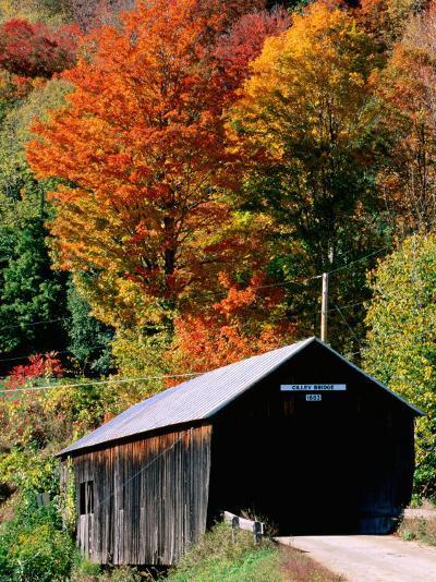 Autumn Leaves Surrounding Cilley Covered Bridge, Vermont-John Elk III-Photographic Print
