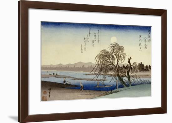 Autumn Moon Over Tama River-Ando Hiroshige-Framed Giclee Print