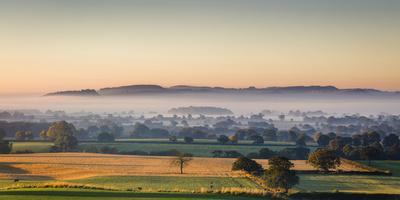 Autumn Morning Light Rakes across Cheshire Plain with Beeston Castle and Peckforton Sandstone Ridge-Garry Ridsdale-Photographic Print