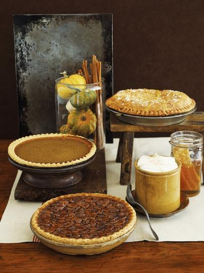 Autumn Pies: Apple/Pear, Pumpkin, and Pecan with Honey and Whipped Cream-Envision-Photographic Print