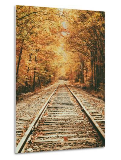 Autumn Railroad, New Engalnd Fall Foilage-Vincent James-Metal Print