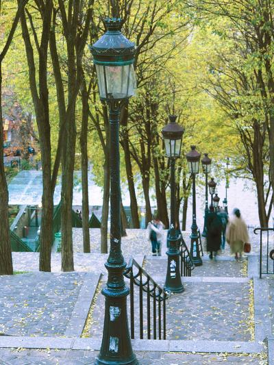 Autumn, Rue De Foyatier Steps to the Place Du Sacre Coeur, Montmartre, Paris, France-Walter Bibikow-Photographic Print