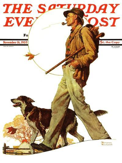 """""""Autumn Stroll"""" Saturday Evening Post Cover, November 16,1935-Norman Rockwell-Giclee Print"""