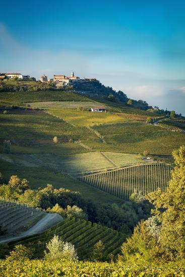 Autumn Sunset on the vineyards, Barolo with town of La Morra, Piemonte, Italy-Brian Jannsen-Premium Photographic Print