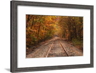 Autumn Tracks into Fall, Bartlett, New Hampshire-Vincent James-Framed Photographic Print