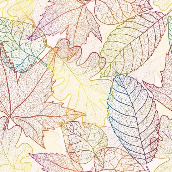 Autumn Transparent Maple Leaves Pattern Background. Colored Art Vector Autumn Leaves Pattern. Fabri-Julia Snegireva-Art Print