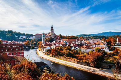 Autumn View on the Cesky Krumlov and Vltava River, Czech Republic. Sunny Autumn Day. UNESCO World H- DaLiu-Photographic Print