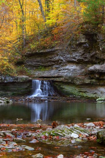 Autumn waterfall in McCormics Creek State Park, Indiana, USA-Anna Miller-Photographic Print