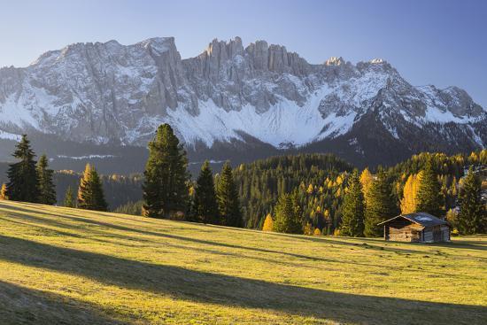 Autumnal Alp in Front of the Mountain Latemar, K?lbleggiesen, South Tyrol-Rainer Mirau-Photographic Print