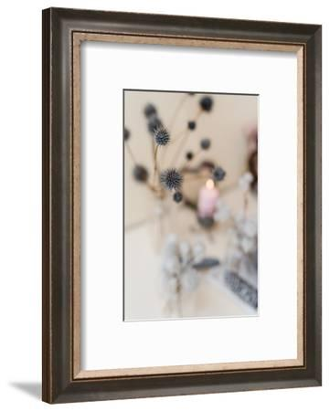 autumnal decoration, natural materials, pastel colours, candles, thistles, detail, blur,-mauritius images-Framed Photographic Print