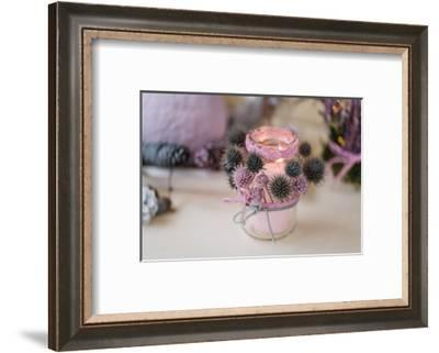 autumnal decoration, natural materials, pastel colours, lantern, thistles, blur,-mauritius images-Framed Photographic Print
